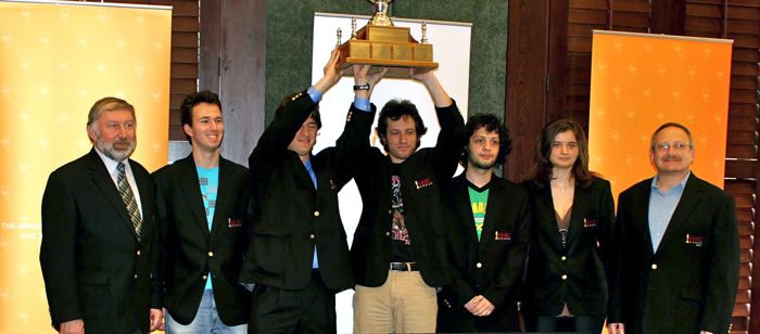 UMBC will field the same team that won the 2010 Final Four of College Chess seen in this photo from their 2010 win.
