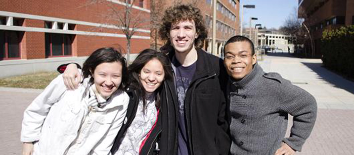 Team HueBotics, a video-game development team at UMBC, is among the final four student teams competing to represent the U.S. in the Games division of the 2015 Microsoft Imagine World Cup competition. The teammates are (l. to r.) Jasmin Martin, Erika Shumacher, Tad Cordle, and Michael Leung. Source: Nicolas Deroin