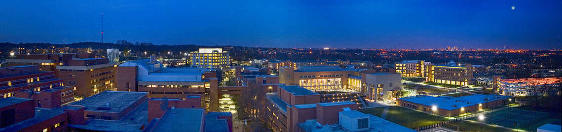 Panoramic view of the campus at dusk. Photo by Dan Bailey for UMBC. (2008)